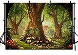 MEHOFOTO Cuento de hadas con bosque encantado para decoración de fiesta de cumpleaños con fondo de fotos para niños, setas, bosque, País de las maravillas y fondos para fotografía de 2,1 x 1,5 m