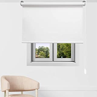 EB ESTORES BARATOS Estor Enrollable Opaco Premium. Regulador de Luz y Temperatura FABRICACIÓN A Medida! Desde 40 cm hasta 300 cm de Ancho. Color: Blanco. Medidas: 68cm x 140cm