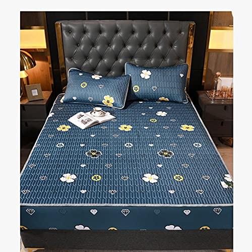 DYXYH Verano Fresco Hielo Alfombra de Seda colchón colchón colchón de látex Natural látex Lavable Reina Cama King Size Cama Dos Almohadas y Conjunto de Hojas (Color : 1.8 Meters Bed)