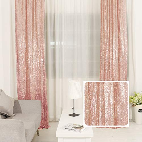 TRLYC Photography Backdrop Sequin Curtain for Wedding 2 Panels 2ft by 8 FT-Rose Gold