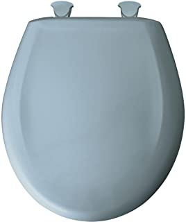 Bemis Round Closed Front Plastic Toilet Seat with Cover, Cerulean Blue - 7B200SLOWT 044