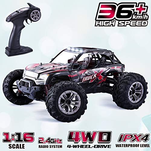 GoStock Remote Control Car, 4WD RC Car 36km/h High Speed Off-Road Monster Truck 1:16 Electric Racing Car 2.4Ghz RC Buggy Desert Crawler Car Radio Controlled Hobby Car