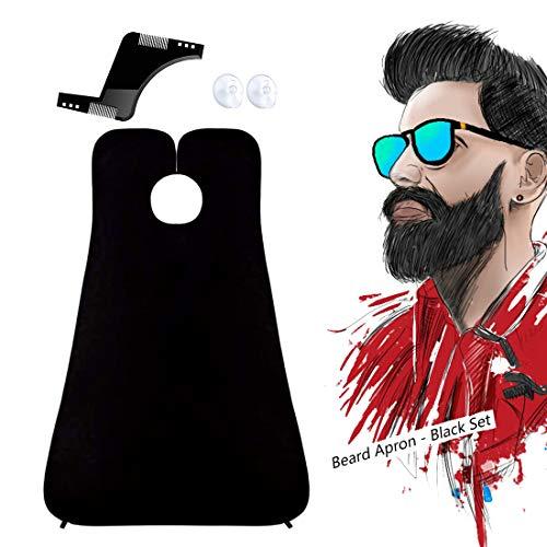 Barba Delantal con Dos Ventosas, Kit de Herramientas Profesional para Plantilla Barba, Dejen de Estorbar su Fregadero Capa para Afeitar Regalo para Hombre, Negro