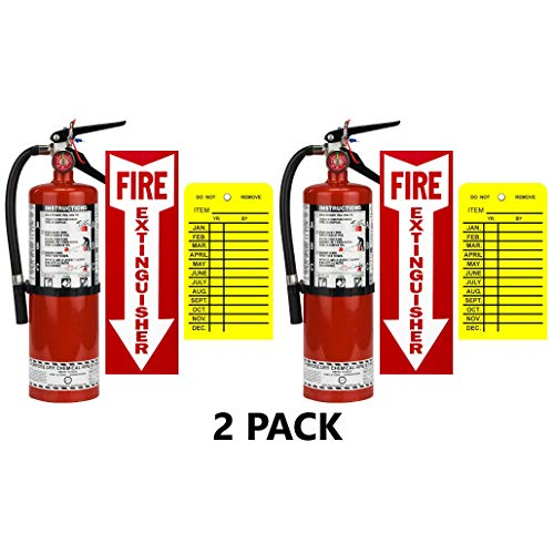 (Lot of 2) Strike First, 5 Lb. Type ABC Dry Chemical 2-A :10-B:C Fire Extinguishers with 2 Wall Hooks, 2 - Yellow Inspection Tags and Signs