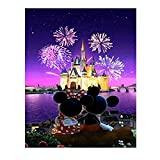 Kimily DIY Paint by Numbers for Adults Kids Castle Mickey Paint by Numbers DIY Painting Castle Acrylic Paint by Numbers Painting Kit Home Wall Living Room Bedroom Decor Castle Mickey Minnie Fireworks