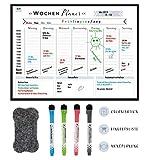 Rosenfeld - Magnetischer Wochenplaner - Whiteboard für den Kühlschrank - abwischbare Magnet-Tafel...