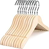 TOPIA HANGER Unfinished/Natural Kids Children Baby Wood Wooden Clothes Dress Shirt Hangers with No Painting - 360°Stronger Flexible Hook- Extra Smoothly Cut Notches, 10 Pack CT09N