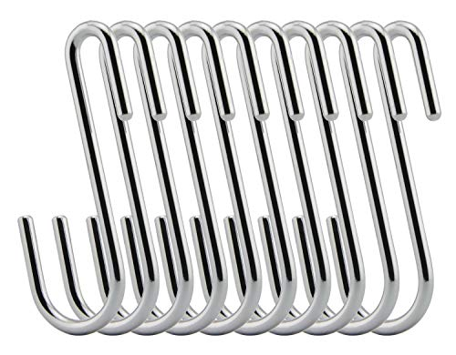LOYMR 10 Pack Heavy Duty S Hooks S Shaped Hooks Hanging Hangers Hooks for Bedroom, Supermarket,Bathroom, Kitchen and Office: Pan, Pot, Coat, Bag,Towels, Plants (Silver)