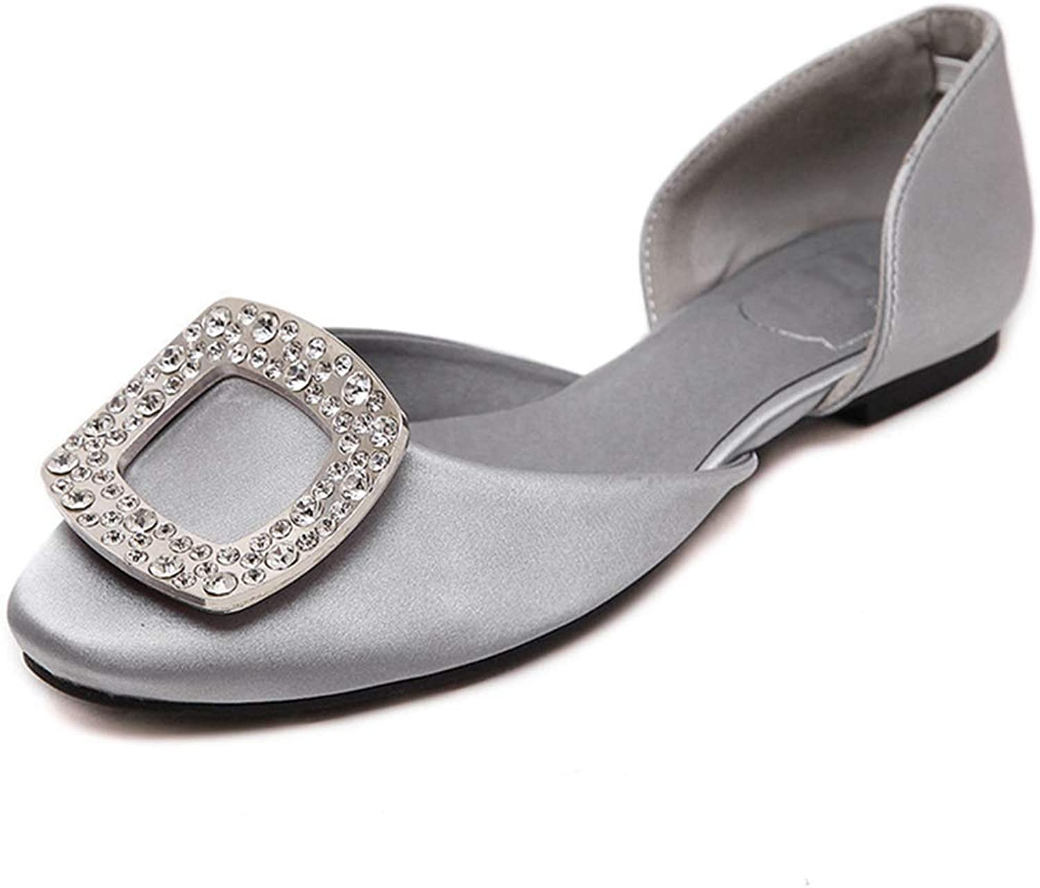 Drew Toby Women's Flats, Rhinestone Buckle Square-Toe Pink Silver Spring Work shoes