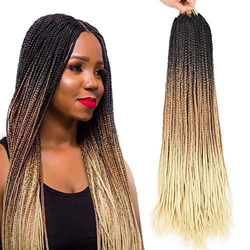 AliRobam Hair 24Inch 22Strands 6Packs Small Box Braids Crochet Braiding Hair Extensions 100g Ombre Kanekalon Synthetic 3S Crochet Braid Hair For Black Women (24inch 3S box braids, 1B 27 613)