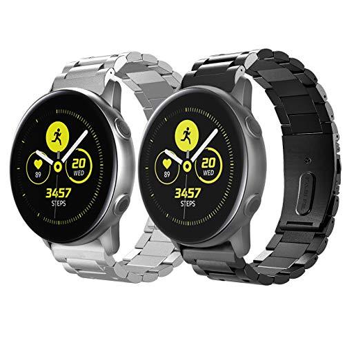 TiMOVO Pulsera Compatible con Galaxy Watch Active/Active 2/Galaxy Watch 42mm/Gear S2 Classic, [2-Pack] Pulsera del Acero Inoxidable, Reemplazable con Doble Botones Plegable - Negro + Plata