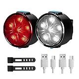 Éclairage Vélo LED Lampe de Vélo - 12 modes d'éclairage Sets d'éclairage avant et arrière , USB Rechargeable Ensemble d'éclairage de vélo avec IPX5 étanche Parfait pour le vélo (12 modes lumiere)