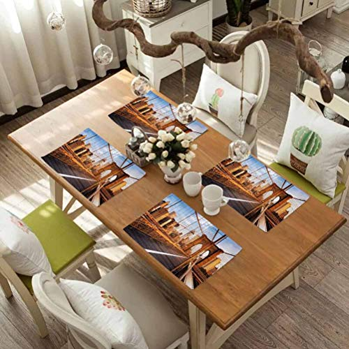 FloraGrantnan Placemats Heat Resistant Dining Table Place Mats, United States Early Morning on Famous Brooklyn Bridge NYC Architecture Pale, Heat-Resistant Washable Place Mats, Set of 4