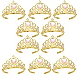 Princess Dress Up Crowns and Tiaras for Child from 3 Years Up Party Favors Pink Tiara Plastic Gold Tiara(10 Pack) (Heart Pink)
