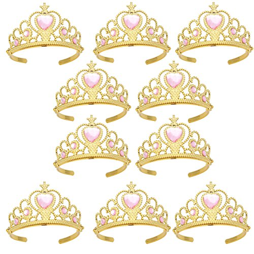 XiangGuanQianYing Princess Dress Up Crowns and Tiaras for Child from 3 Years Up Party Favors Pink Tiara Plastic Gold Tiara(10 Pack) (Heart Pink)