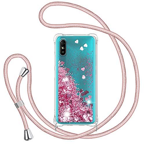 Funda Glitter Liquida con Cuerda para Xiaomi Redmi 9A//Xiaomi Redmi 9AT, Glitter Cristal Suave Silicona TPU Bumper Protector Carcasa, Brillante Arena Movediza con Colgante Ajustable Cordón Cas