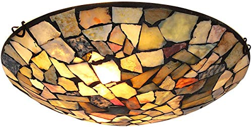 Artzone Tiffany Flush Mount Ceiling Light Fixtures 16 Inch 3-Light Natural Stone Mosaic Lamp for Hallway Entryway Bathroom