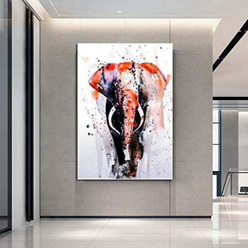 Colorido elefante animal pintura moderna minimalista lienzo pintura pared arte cartel sala decoración 40x60 cm