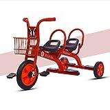 WLWWY Triciclo para Niños, Asa De Bicicleta Trike Asientos Gemelos para Bebés, Niños Pequeños, Automóviles De Juguete, Gemelos, Automóviles Al Aire Libre,Red