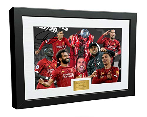 2019 2020 Liverpool Premier League Champions 12x8 A4 Signed Henderson Klopp Salah Mane Firmino Van Dijk Arnold Autographed Photo Photograph Picture Frame Soccer Gift