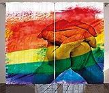 ABAKUHAUS Orgullo Cortinas, Pareja Gay Agarrados de la Mano, Sala de Estar Dormitorio Cortinas Ventana Set de Dos Paños, 280 x 245 cm, Multicolor