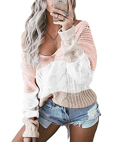 YOINS Oversize Pullover Damen Strickpullover Damen Sexy Off Shoulder Langarmshirt Schulterfrei V-Ausschnitt Causal T-Shirt,Rosa/Weiß/Beige,XL