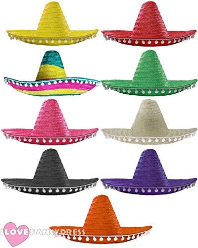 I LOVE FANCY DRESS LTD Paquete DE 48 Sombreros Mexicanos DE Paja EN DIVERSAS Colores Fiestas DE Grupo O Carnaval