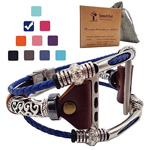 Smatiful Uhr Aembänder Zubehör mit Edelstahl Clip für Damen und Herren, Verstellbar Leder Ersatz Sport Watch Armband for Apple Watch 38mm(Series 1,2,3) & 40mm(Series 4,5), Marine Blau