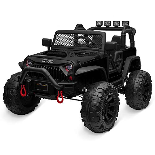 Kidzone Kids 12V9AH Battery Powered Extra Wide Seat Ride On Truck with DIY License Plate, Off Road Big Wheels, Front Bumper, LED Light, Remote Control, Bluetooth Music, 2 Speeds - Black