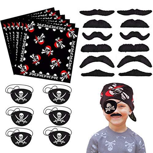 24 Stück Piraten Zubehör Set Piraten Augenklappe Kinder Piraten Bandana Kopftuch Selbstklebende falscher Bärte Gefälschter Schnurrbart für Halloween Karneval, Pirat Thema Party und Kindergeburtstag