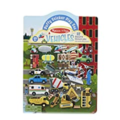 Reusable fold-and-go puffy sticker play set with a transportation/vehicles theme Includes 32 reusable vehicle puffy stickers plus fold-and-go play scenes Double-sided glossy background with a city scene and a country/construction site scene to fill a...