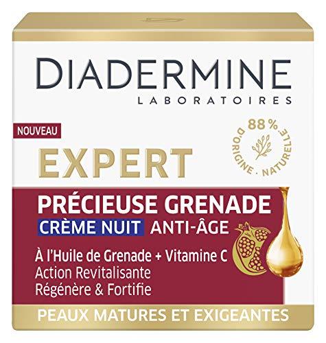 Diadermine - Expert - Précieuse Grenade - Crème de Nuit Visage Anti-Âge - Régénère et Fortifie - Formule à l'huile de Grenade et Vitamine C - 88 % d'ingrédients d'origine naturelle - Pot de 50 ml
