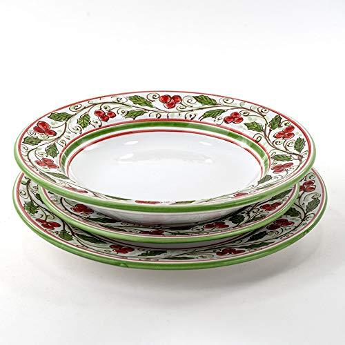 Set di 3 piatti posto tavola singolo natalizio per servizio di piatti in ceramica di Caltagirone, agrifoglio idee regalo di Natale