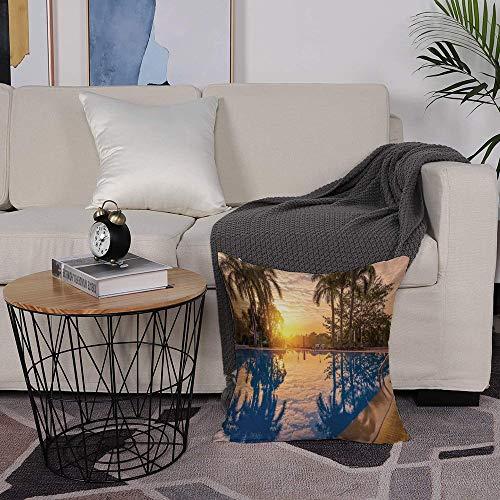 SHENGDA Fodera per Cuscino Moda semplicità Modern Poliestere,Decorazione della casa, Riflessione Piscina in Sunshine Sunri.Federa per Divano Home Living Room Bedroom Interior Decoration,50x50cm