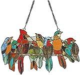 Atrapasueños para ventana de pájaros, multicolor pájaros en un alambre, adornos de cristal manchado para colgar en la ventana, adornos para decoración del hogar y regalos