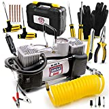 Air Pump and Tire Repair Kit – 12V DC 150 PSI Portable Air Compressor & Car Emergency Kit with PSI Gauge, Adaptors, Hose, Car Plug, Clip Connectors, Tire Inflator & Tire Patch Kit by WE LOVE TO DRIVE