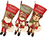 3 Pack Christmas Stockings 19' Xmas Large Stockings with 3D Santa Snowman Elk Holiday Fireplace Home Decoration Gifts for Family Kids Red and Green