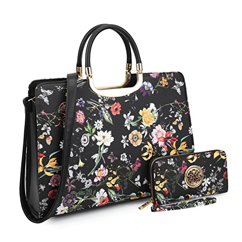 Women's Fashion Handbag Shoulder Bag Hinged Top Handle Tote Satchel Purse Work Bag with Matching Wallet (1-black Floral Wallet Set)