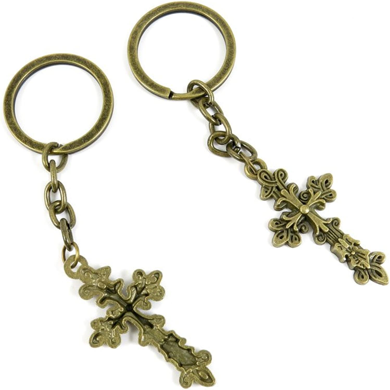 80 PCS Keyring Car Door Key Ring Tag Chain Keychain Wholesale Suppliers Charms Handmade T9QV4 Latin Cross