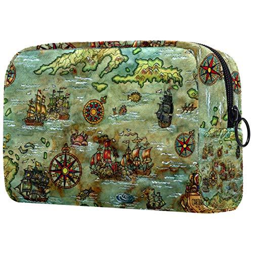 Neceser de viaje, bolsa de viaje impermeable con cremallera mejorada, brújula náutica antigua...