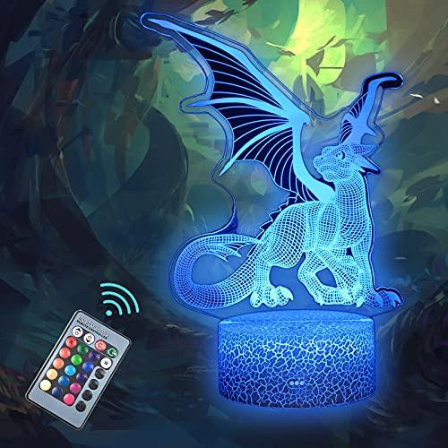 MARZIUS Dragon 3D Illusion Lampada da tavolo, luce notturna decorativa,decorazioni per la camera da letto, regali per papà, madre, ragazze, uomini, donne, bambini, ragazzi, adolescenti