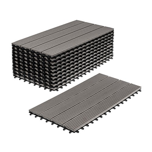 WPC Holz Kunststoff Fliesen Terrassenfliesen Klickfliesen Balkonfliesen 11 Stück = 2m² (30 x 60 cm, Grau Standard)