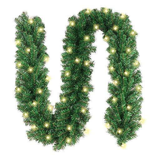Harddo kerstboom LED-licht, gedecoreerde slinger kerstdecoratie met warmwitte LED-lampjes verlicht 220led groen