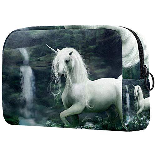 Bolsa de maquillaje personalizada para brochas de maquillaje, portátil, para mujer, bolso de mano, organizador de viaje, diseño de unicornio