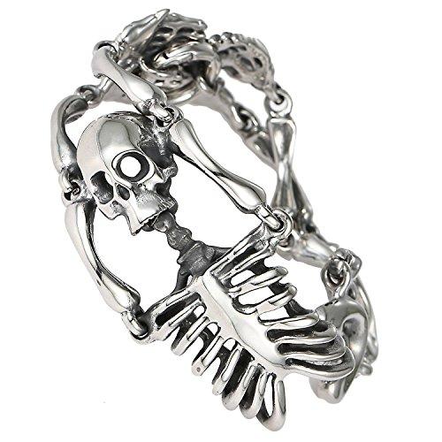 Hombre DonDon esqueleto calavera pulsera de acero inoxidable