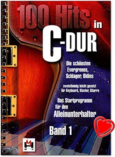 100 Hits in C-Dur Band 1 - schönsten Evergreens, Schlager, Oldies - zweistimmig leicht gesetzt für Keyboard, Klavier, Gitarre - Verlag Bosworth BOE7696 - Songbook mit bunter herzförmiger Notenklammer