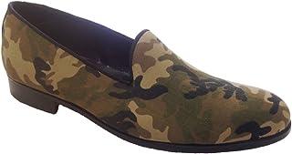 Scarpe Uomo Mocassini, Slippers in Tessuto Camouflage Militare