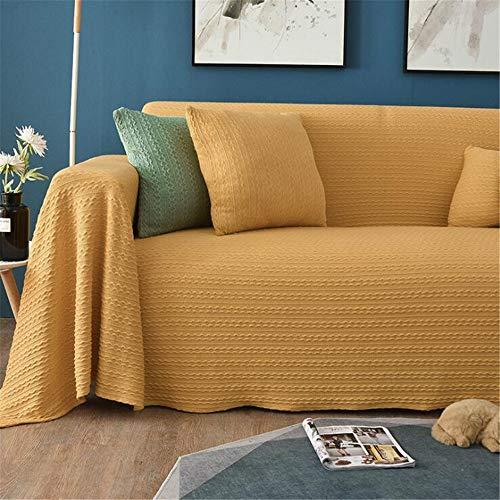 Sofá Manta, Cubierta De Sofá Cubierta Completa Cojín del Sofá De Punto De Lana, para El Amortiguador/Sofá/Silla/Sofá-Ligero, Cálido Y Confortable,Amarillo,180×130cm