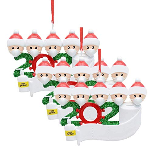 MSLAN 3-Pack Personalized Quarantine 2020 Christmas Ornament Kit with Paper, Customized Family Name Christmas Tree Decorating Set Creative Friends Gift Family of 5