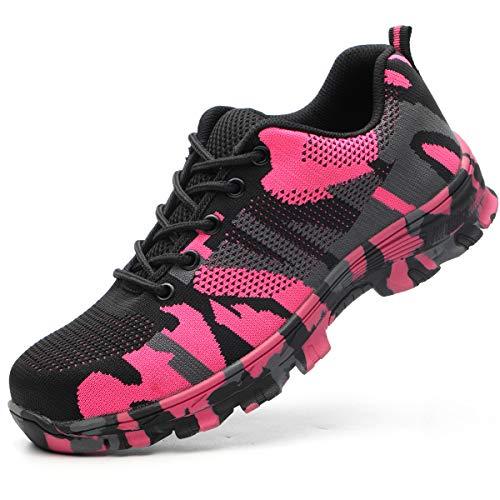 Luolocsn Women Work Shoes Camo Steel Toe Safety Shoes Puncture Proof Footwear Sneakers Pink 42/10.5 Women/8.5 Men